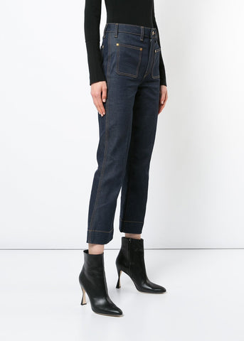 Khaite Raquel Cropped flare jean in raw