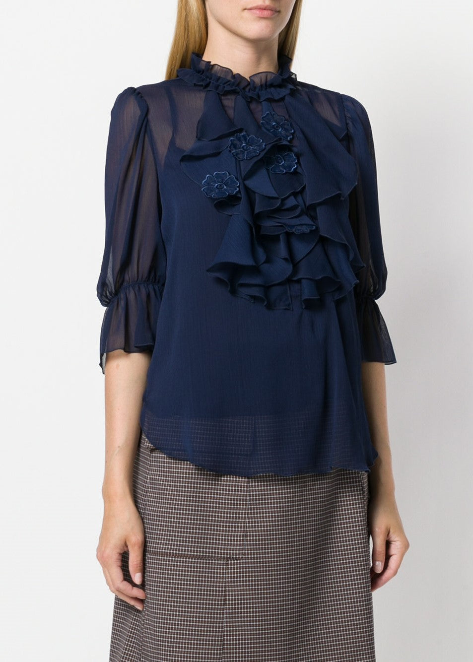 See by Chloe ruffle front 3/4 sleeve blouse in navy
