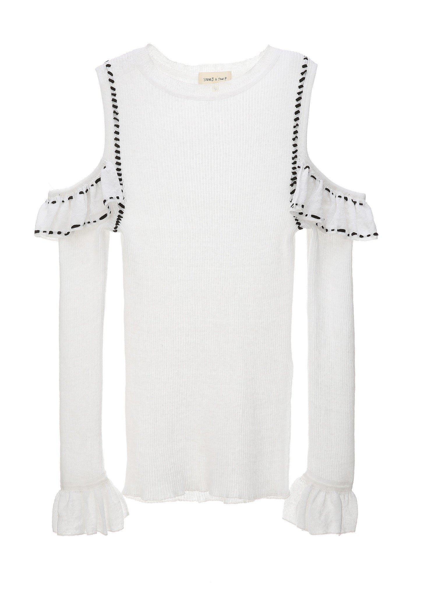 SJYP SHOULDER CUT FRILL LONG SLEEVE white