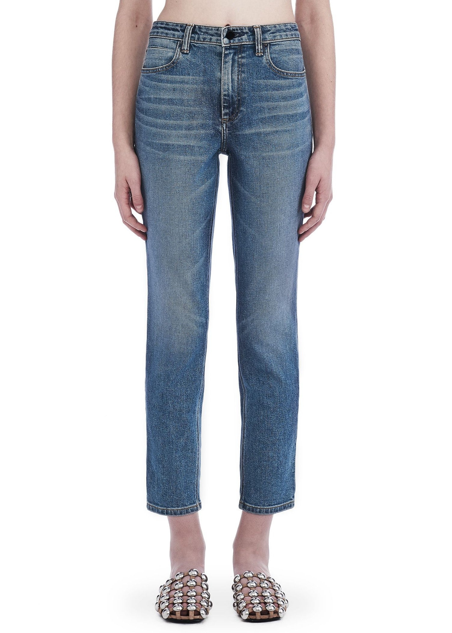 T by Alexander Wang high rise straight leg light indigo aged