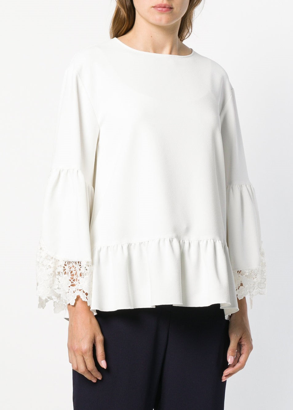 See By Chloe lace trim top in misty ivory