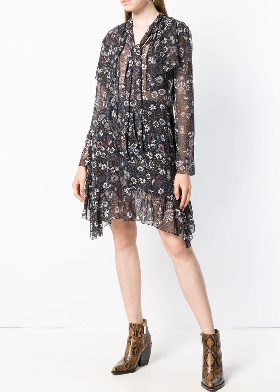 See by Chloe tie neck dress in multi black