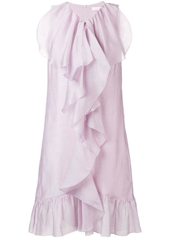 See by Chloe ruffle front dress in lavender frost