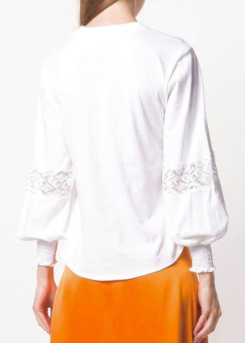 See by Chloe Long sleeve lace insert top in white powder
