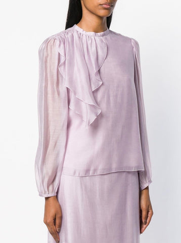 See by Chloe Ruffle shoulder blouse in lavender frost