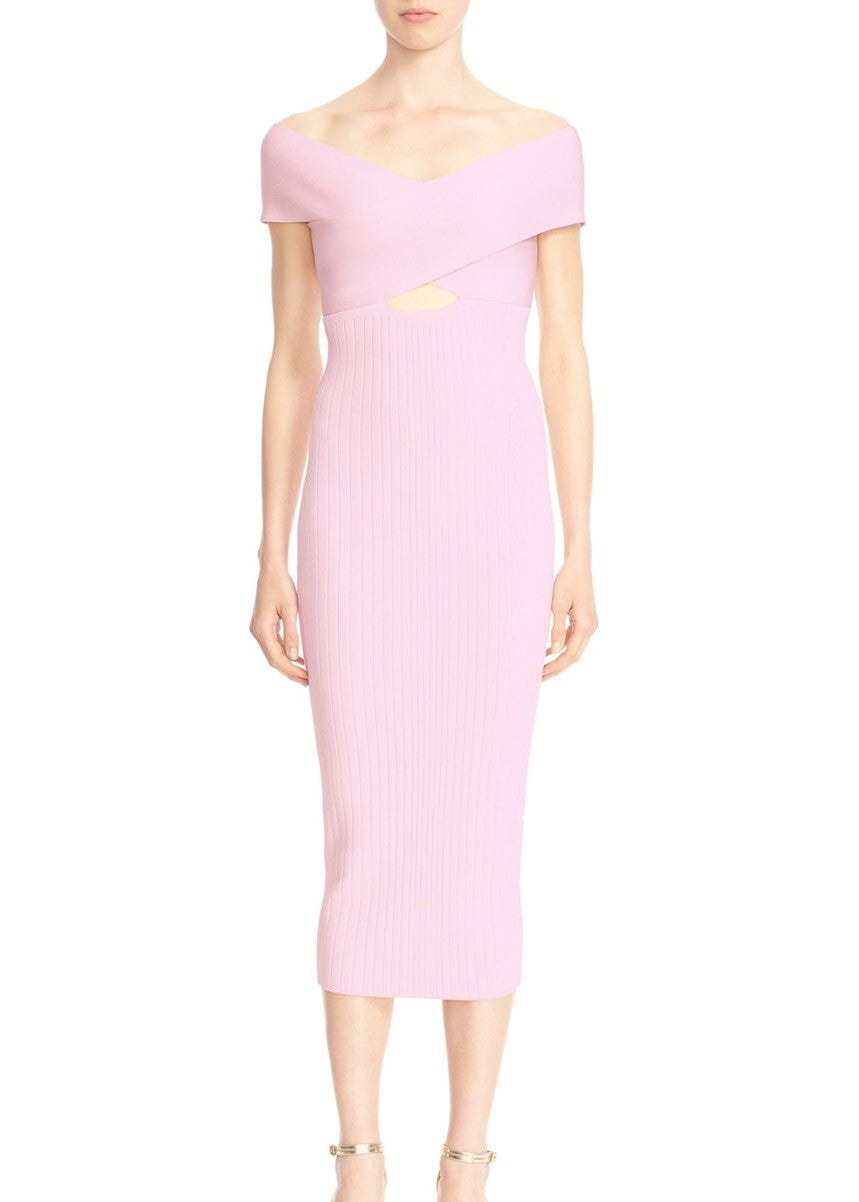 Cushnie et Ochs crossover boatneck pencil dress pink