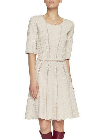 Blumarine elbow sleeve knitted dress beige
