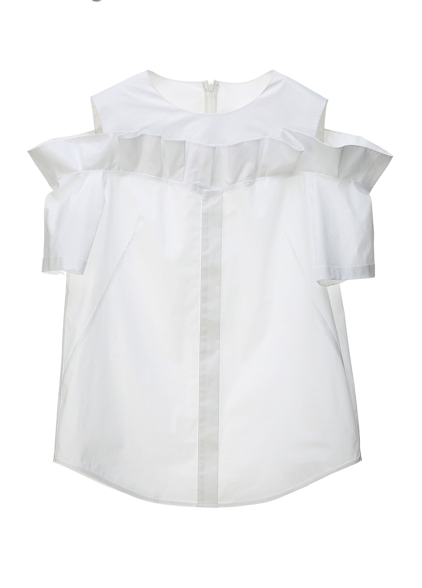 SJYP FRILL CUT BUTTON TOP white