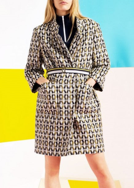 Tara Jarmon printed coat with belt marine