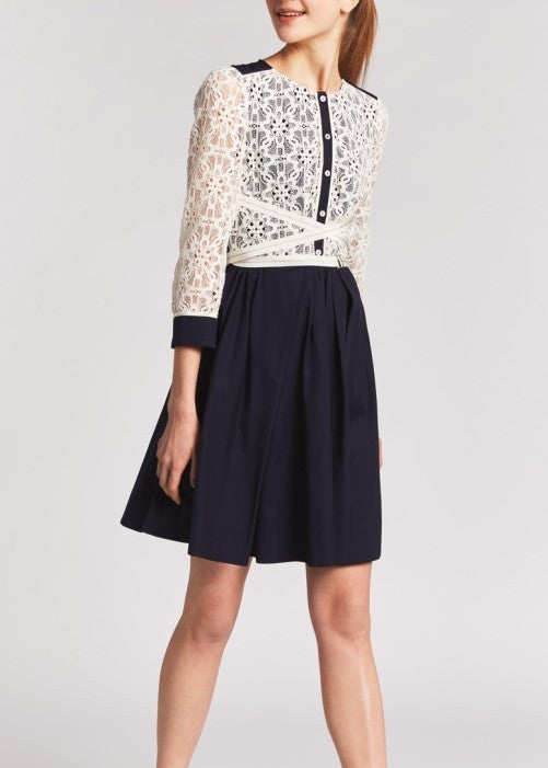 Tara Jarmon shirt dress with lace top marine