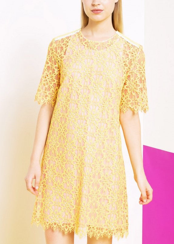 Tara Jarmon lace shift dress yellow