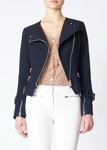 Veronica Beard jordan collarless moto jacket black