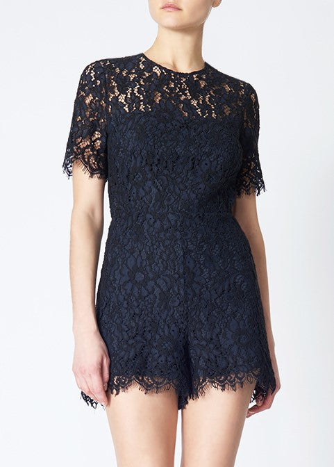 Veronica Beard lola lace jumper navy black