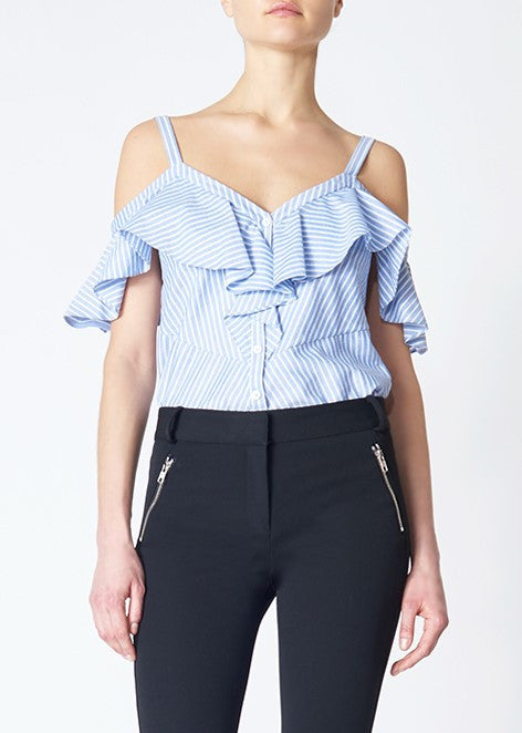 Veroncia Beard grant off the shoulder ruffle shirt blue