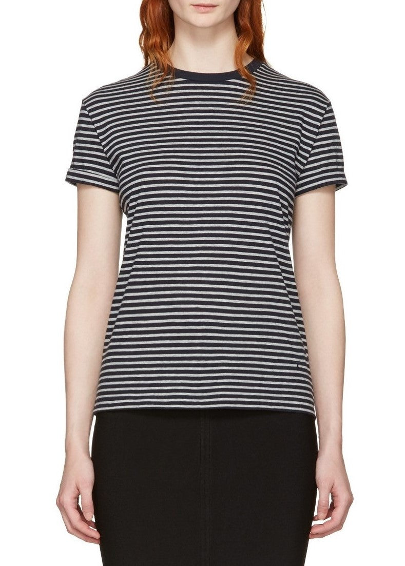 T by Alexander Wang short sleeve crewneck stripe tee navy grey