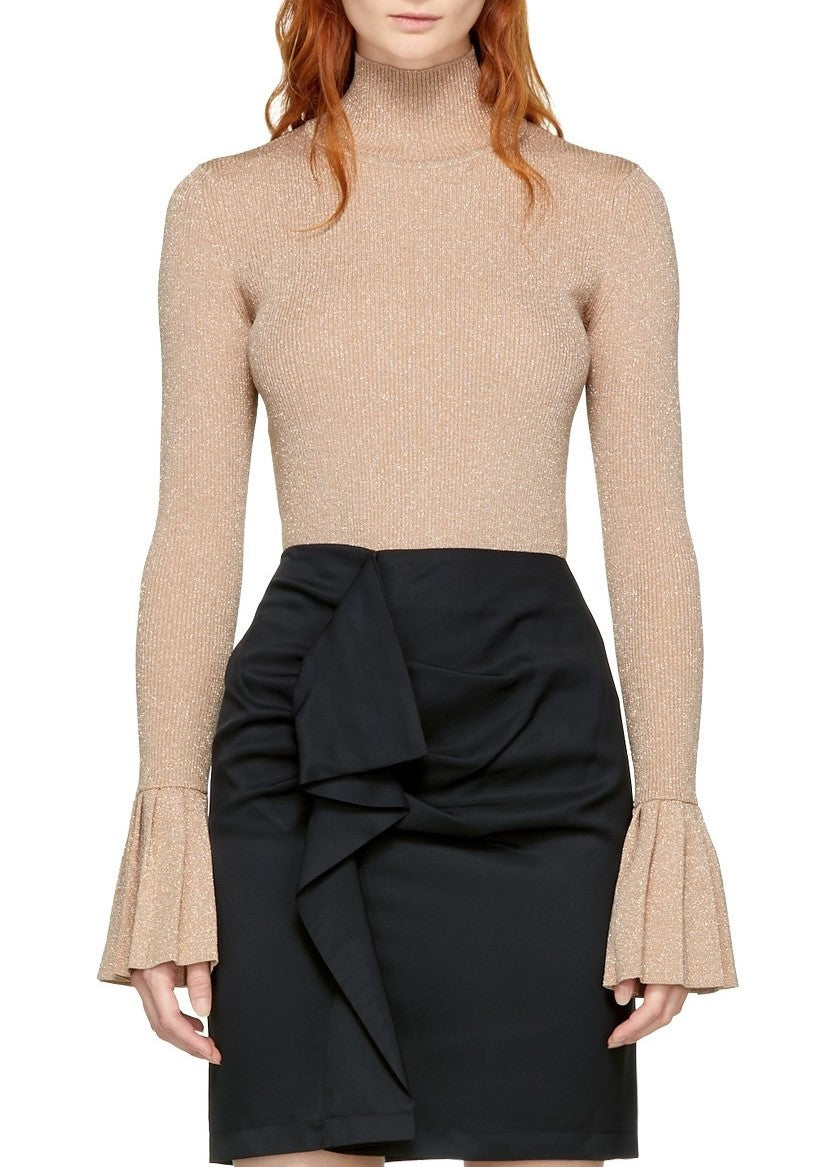 Carven metallic sweater with pleats blush