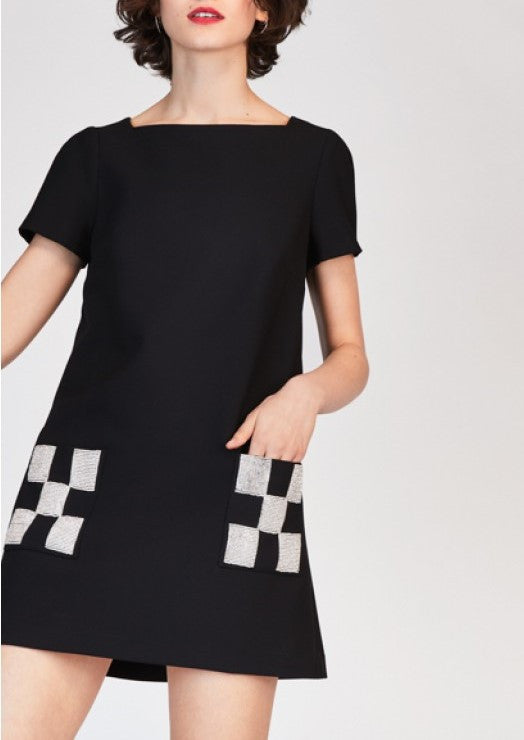 Tara Jarmon short sleeve dress with checkered pockets black