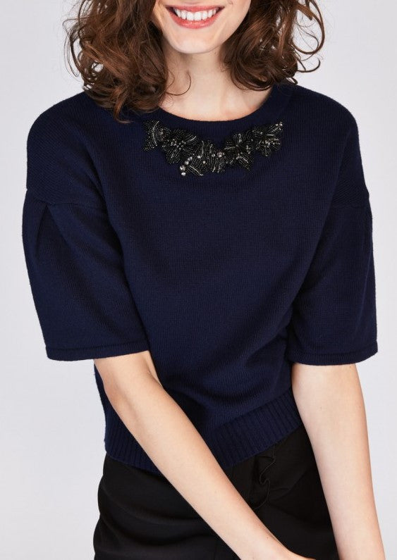 Tara Jarmon bell sleeve top with embroidered neckline navy