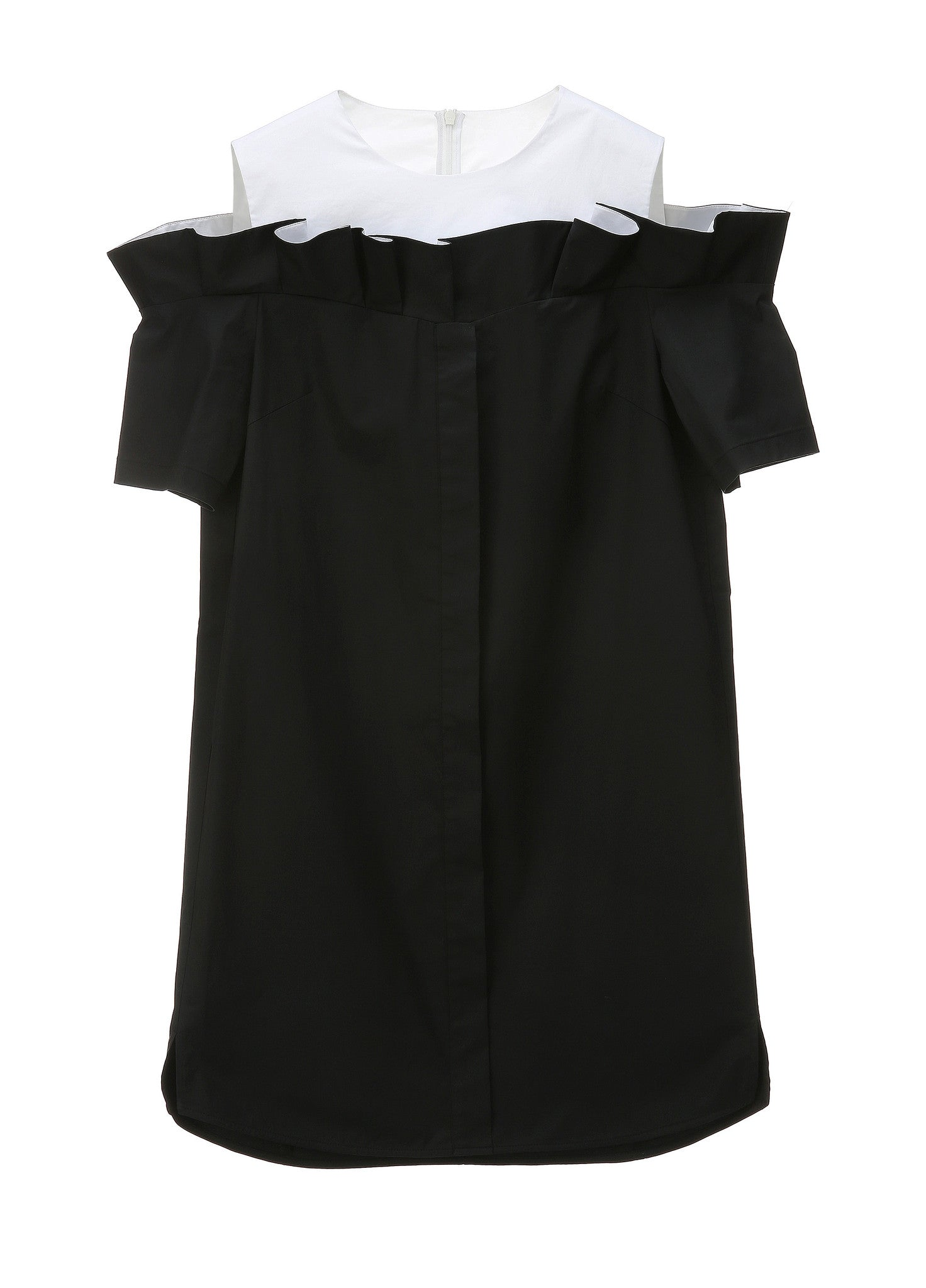 SJYP FRILL CUT BUTTON DRESS black