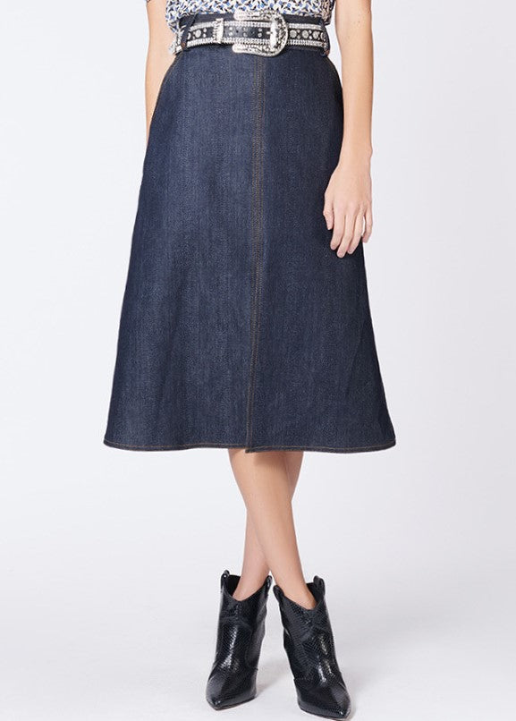 Veronica Beard Leith midi skirt in blue denim