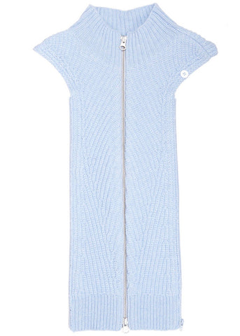 Veronica Beard Flori mock neck dickey in light blue