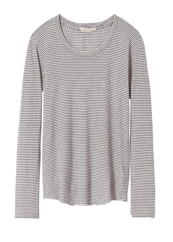 Nili Lotan long sleeve scoop neck striped tee