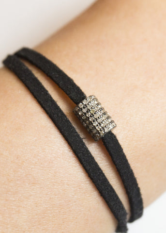 Lera Jewels small pave diamond cylinder on black suede wrap
