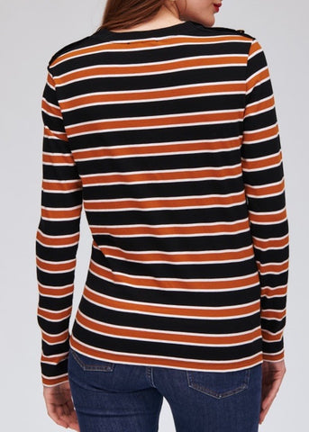 Tara Jamon Knitted long sleeve t-shirt in noir and mustard stripe