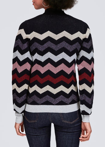 Tara Jamon knitted chevron sweater in metallic blue