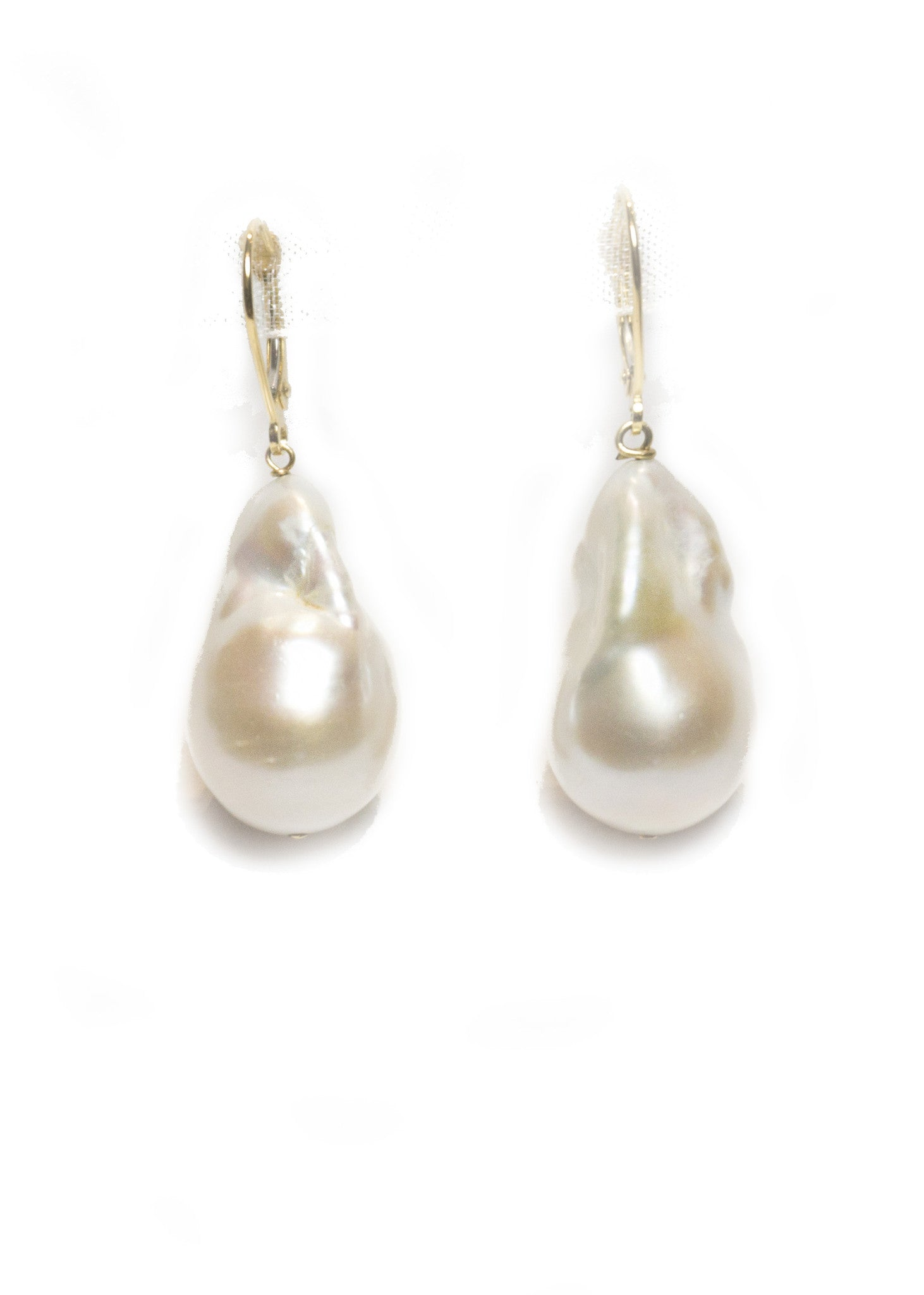 Designs by Alina Minimalist Baroque White pearl earrings