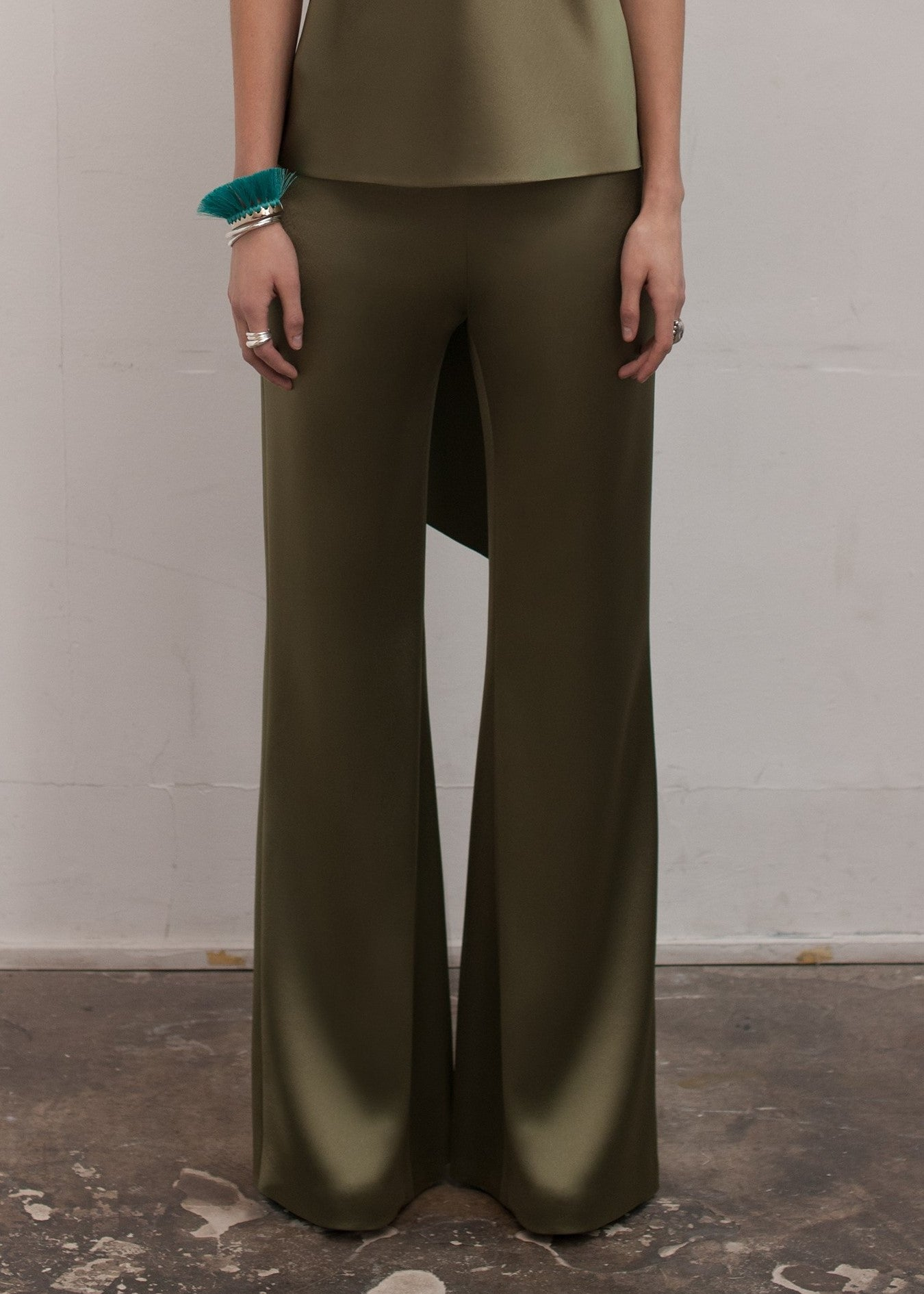 Galvan high waisted satin trousers olive