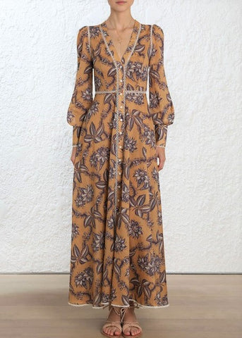 Zimmermann Castile Button Up Maxi Dress