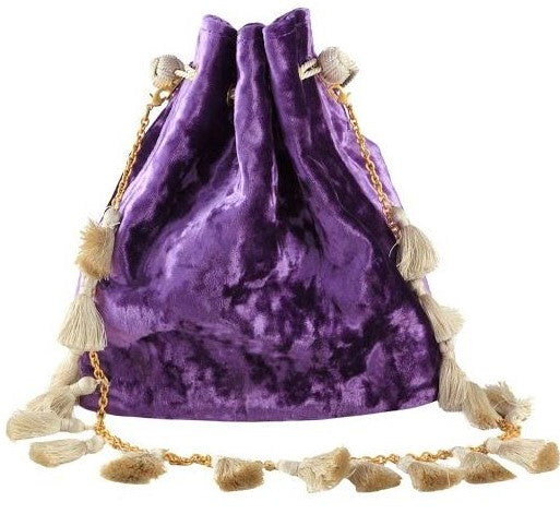 Kayu Nicolette velvet drawstring clutch in purple