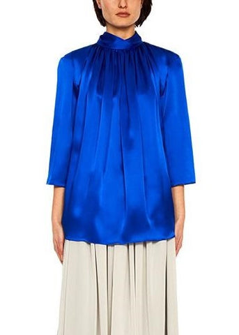 Arias silk twisted turtleneck top in royal blue