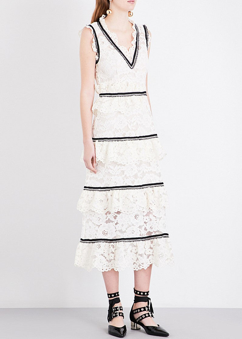 Self Portrait lace tiered midi dress white
