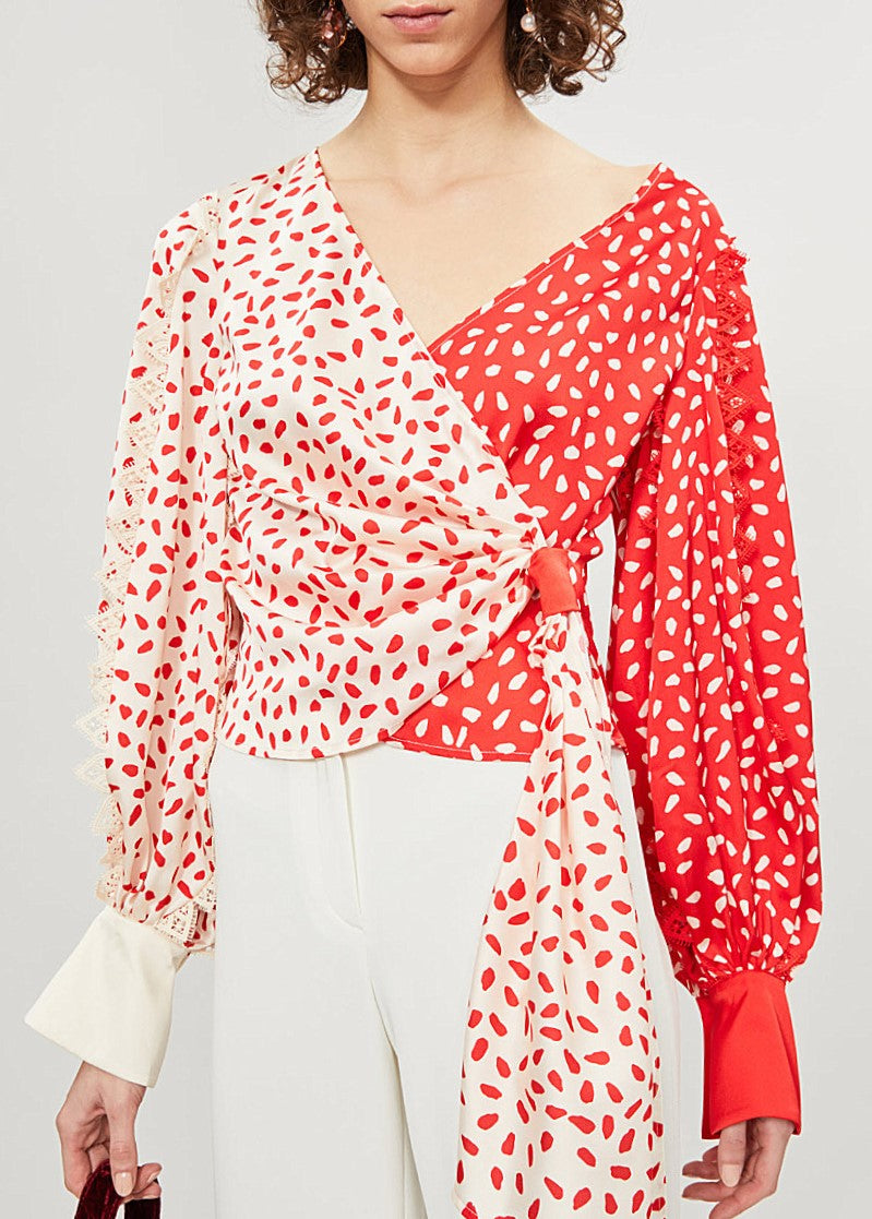 Self Portrait satin printed wrap top in cream red