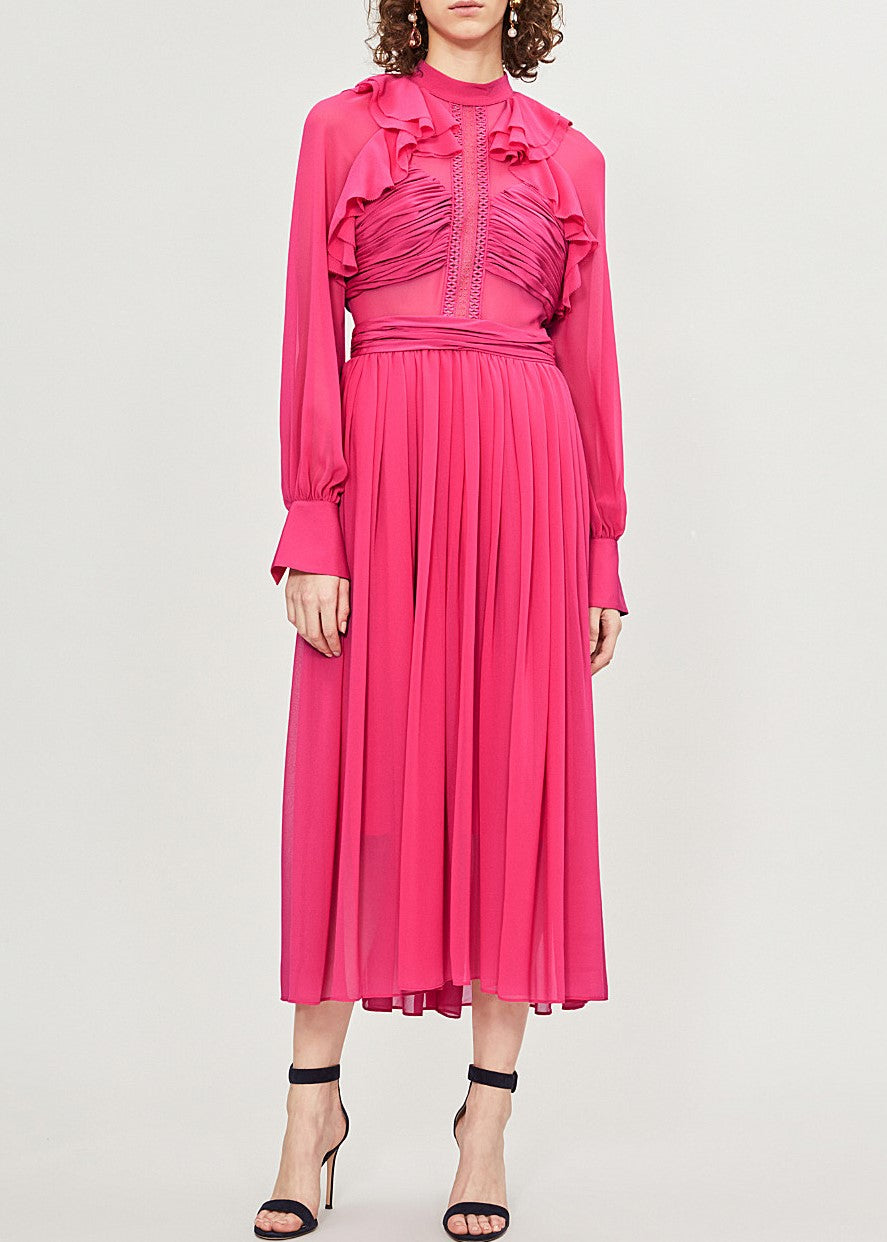Self Portrait fuchsia chiffon midi dress in fuschia