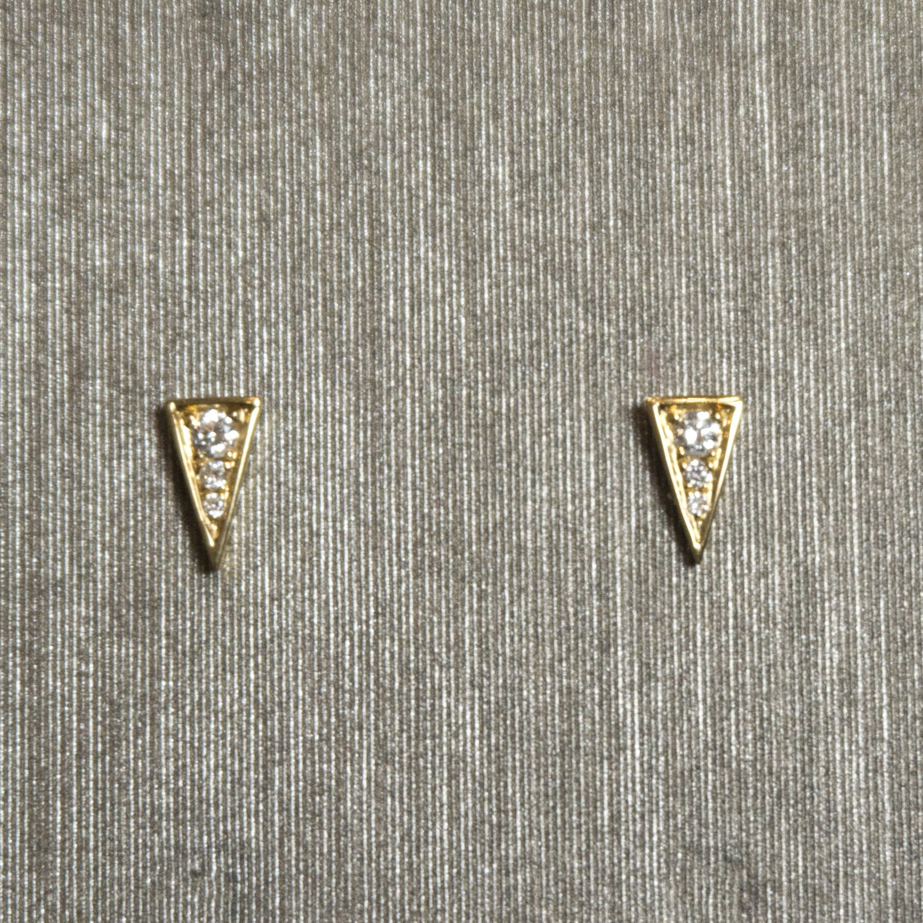 Rocks with Soul Long Triangle Studs Yellow Gold