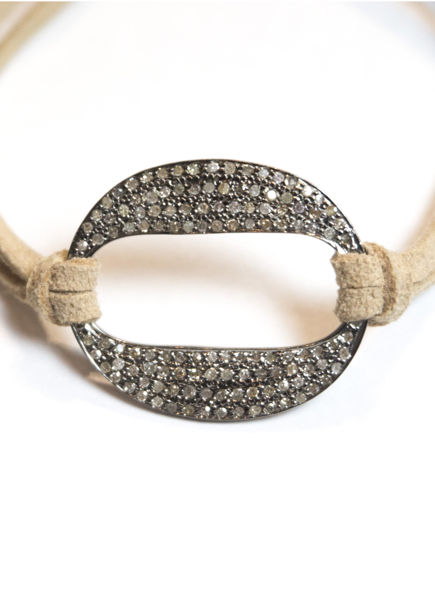 Lera Jewels large diamond oval connector on suede with diamond pull
