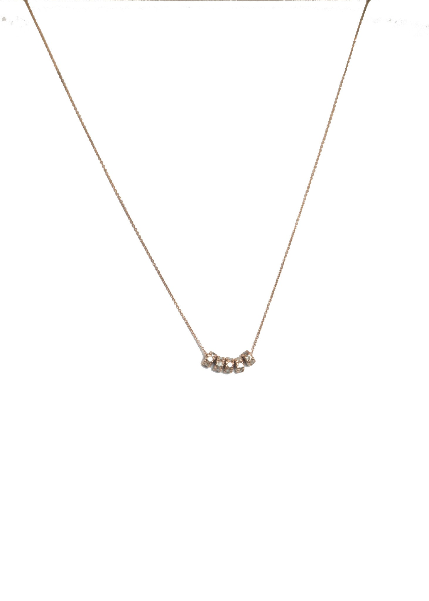 Lera Jewels 5 rose gold rondels on chain necklace