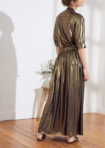 Swildens lame maxi dress gold