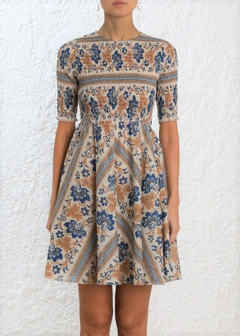 Zimmermann Castile Shirred Bodice mini dress