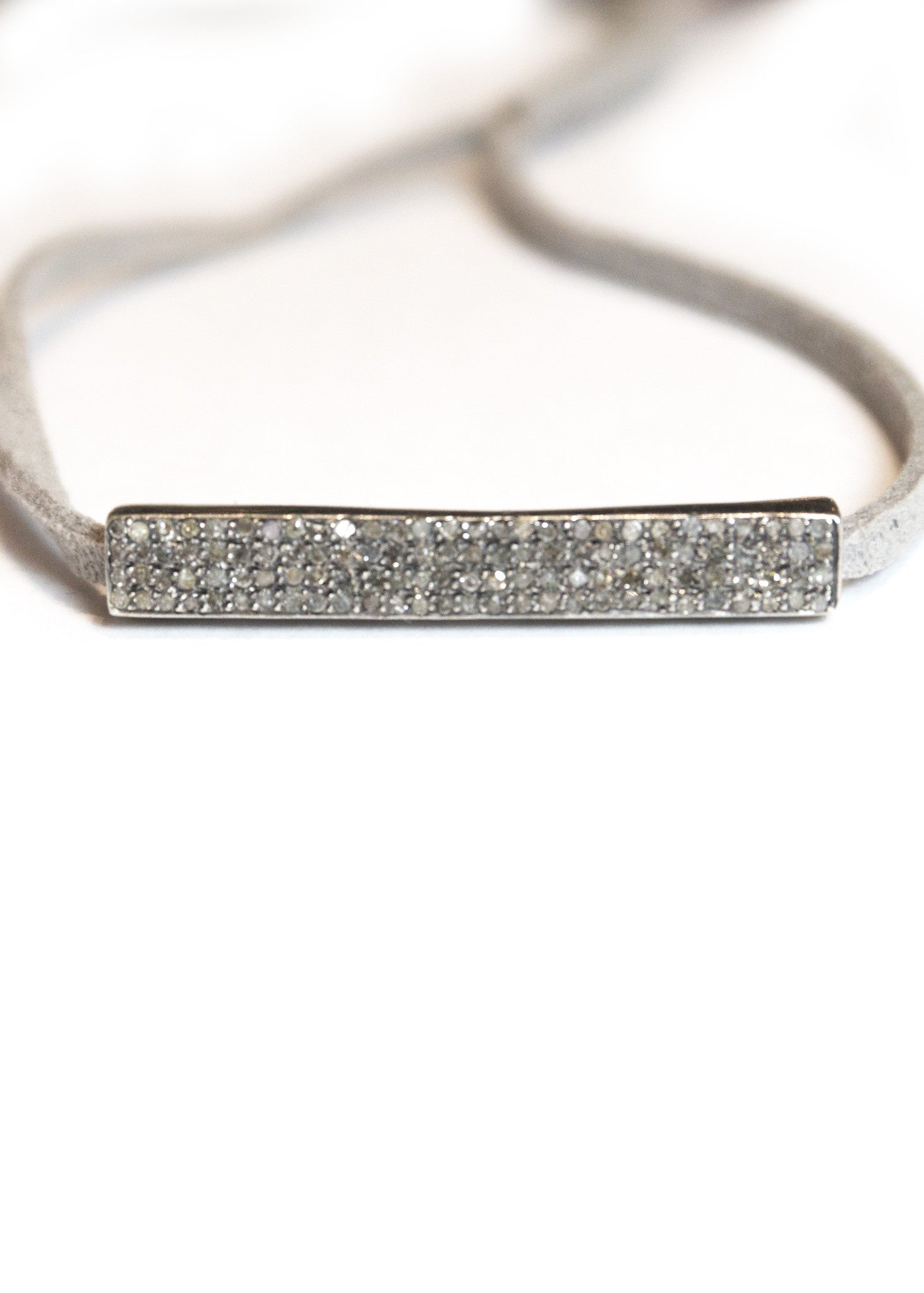 Lera Jewels diamond bar on grey suede bracelet