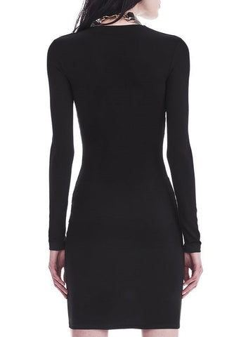 T by Alexander Wang twist front long sleeve dress black