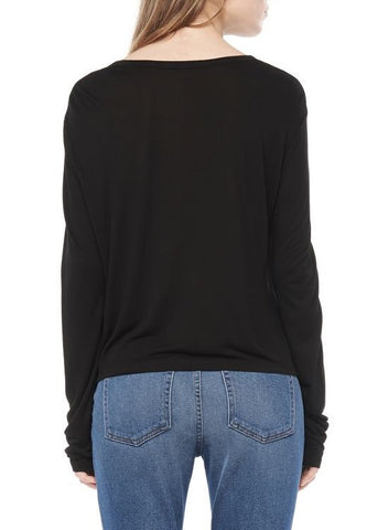 T by Alexander Wang classic cropped long sleeve tee with pocket black