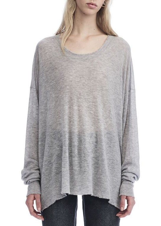 T by Alexander Wang distressed edge sweater grey