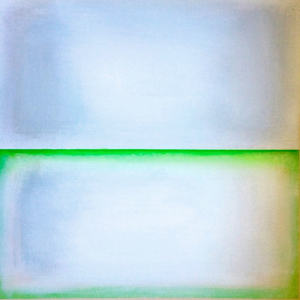 Michelle Tholen - Lime Green between Shades of White, Acrylic on canvas
