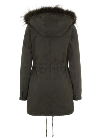 Blonde No. 8 aspen parka with fur hood night green