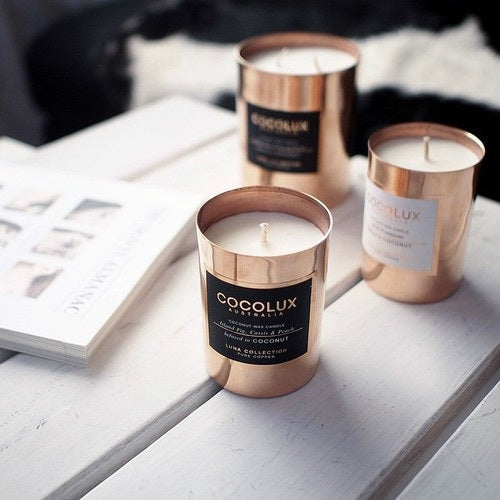 Cocolux Australia 150g copper (rose gold color) candle