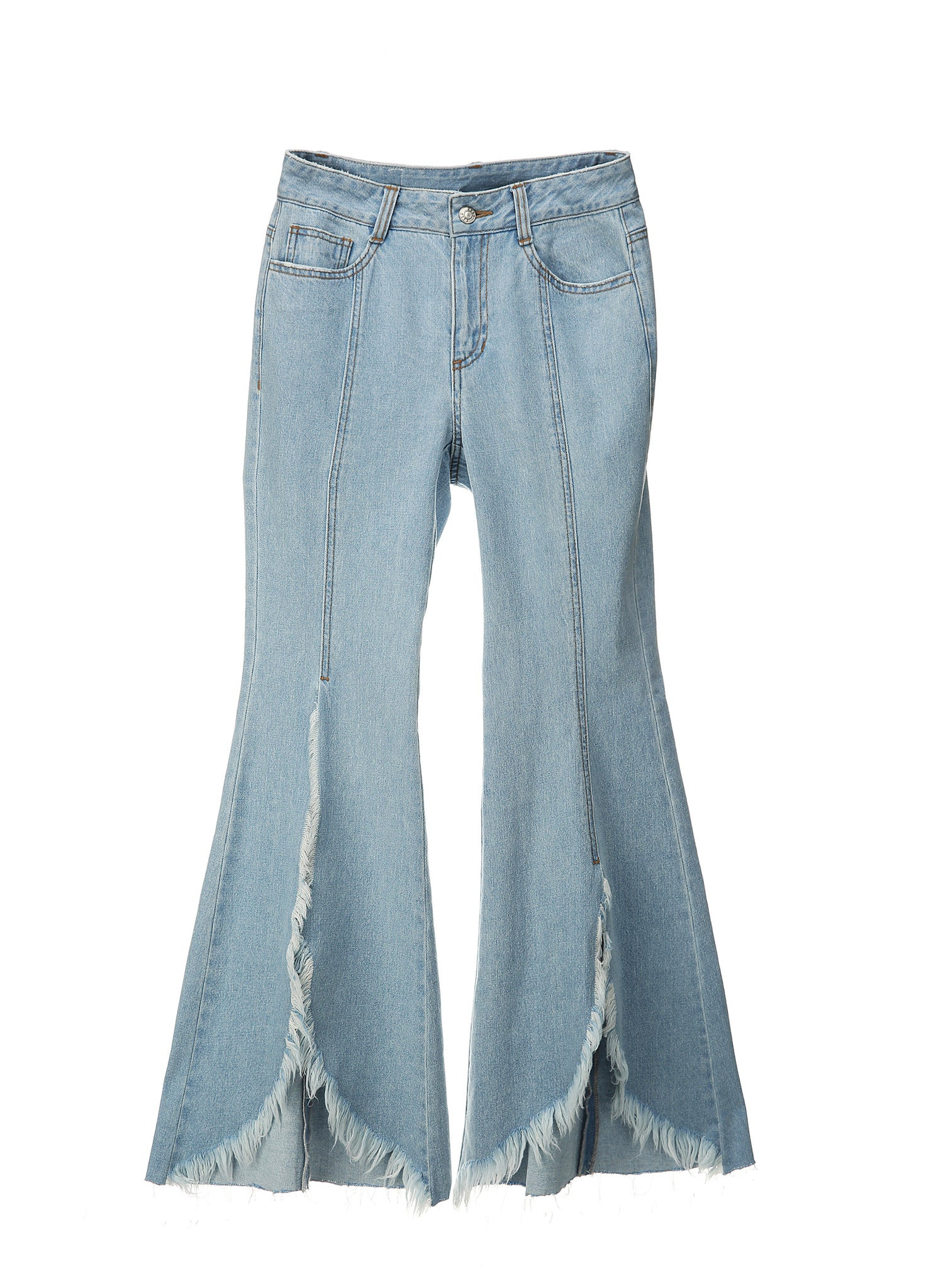 SJYP FRONT CUT OFF WIDE JEANS